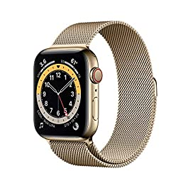 New AppleWatch Series 6 (GPS + Cellular, 44mm) – Gold Stainless Steel Case with Gold Milanese Loop