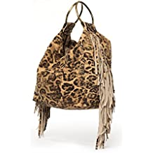 Leopard print handbags | Hobo purse with fringes | Small top handle bag for woman