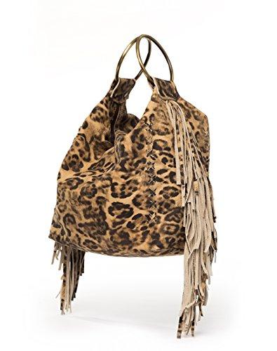 Leopard print handbags | Hobo purse with fringes | Small top handle bag for woman Leopard Print Hobo Handbag