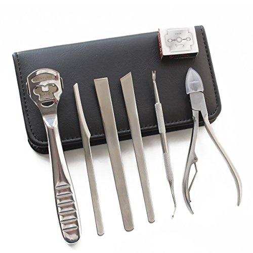 MoreFarther Professional Pedicure Knife Kit Foot Care Tool for Thick & Ingrown Toenails Callus Corn Hard Tough Skin Remover (7 pcs)