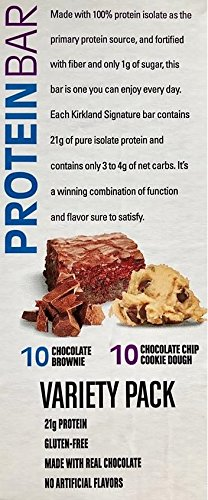 Protein Bar Kirkland Signature delicious energy variety (total 20 pack: 10 Chocolate Chip Cookie Dough, 10 Chocolate Brownie) Gluten Free, Real Chocolate, 15g of Fiber 2.12 oz (40 Count) by Kirkland Signature (Image #2)