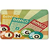 Memory Foam Bath Mat,Vintage Decor,Bingo Game with Ball and Cards Pop Art Stylized Lottery Hobby Celebration ThemePlush Wanderlust Bathroom Decor Mat Rug Carpet with Anti-Slip Backing,Multi