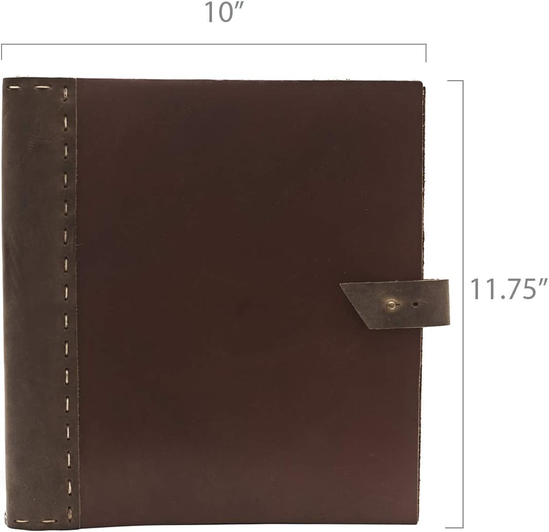 """Rustic Leather Binder Handmade by Rustico in The USA, Handsewn,Thick, Rich Top-Grain Leather, 3 Ring Spine, 1.5"""" Rings, Protect and Store Important documents (Thick Cinnamon & Dark Brown) [並行輸入品]"""
