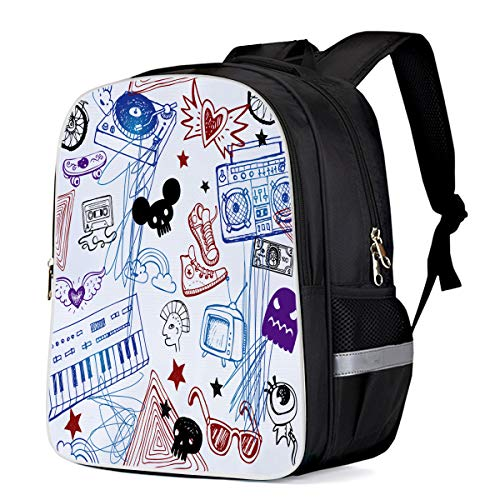 - Lightweight Backpack for Students- Cartoon Graffiti Electronic keyboard Bike Shoes- Unisex Casual Daypack Elementary School Bags Printing Travel Laptop Bag