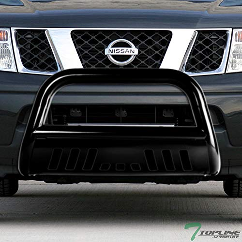 Topline Autopart Black Bull Bar Brush Push Front Bumper Grill Grille Guard With Skid Plate For 05-18 Nissan Frontier ; 05-07 Pathfinder ; 05-15 Xterra
