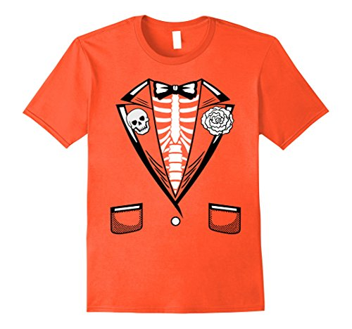 Mens Halloween Costume Funny Skeleton Tuxedo T-Shirt 3XL Orange