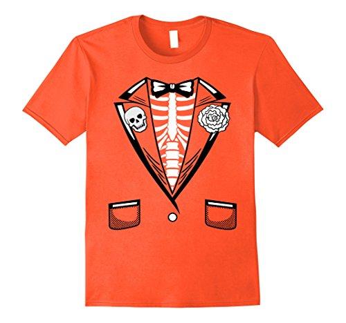 Mens Orange Tuxedo Costumes Tshirt (Mens Halloween Costume Funny Skeleton Tuxedo T-Shirt XL Orange)