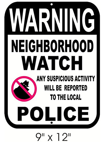 1-Pc Important Unique Warning Neighborhood Watch Any Suspicious Activity Will Be Reported to The Local Police Aluminum Sign CCTV Home Security Reflective Under Cameras Protect Neighbor Size 9x12