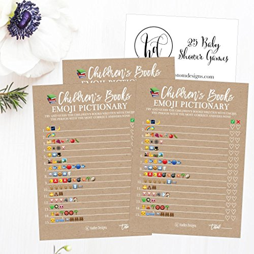 25 Rustic Emoji Children's Books Pictionary Baby Shower Game Party Ideas For Quiz Boy, Girl, Kids, Men, Women and Couples, Cute Classic Bundle Pack Set, Kraft Gender Neutral Unisex Fun Coed Cards by Hadley Designs (Image #3)