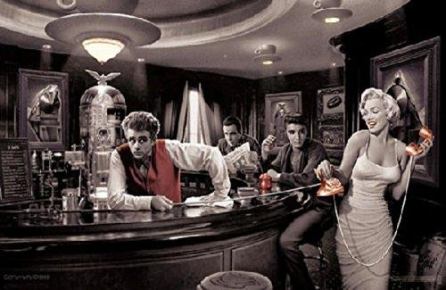 Java Dreams with James Dean Marilyn Monroe Elvis Presley and Humphrey Bogart by Chris Consani 36x24 Art Print Poster Wall Decor Celebrity Movie Stars at Coffee Bar Icons Hollywood by Scorpio Posters
