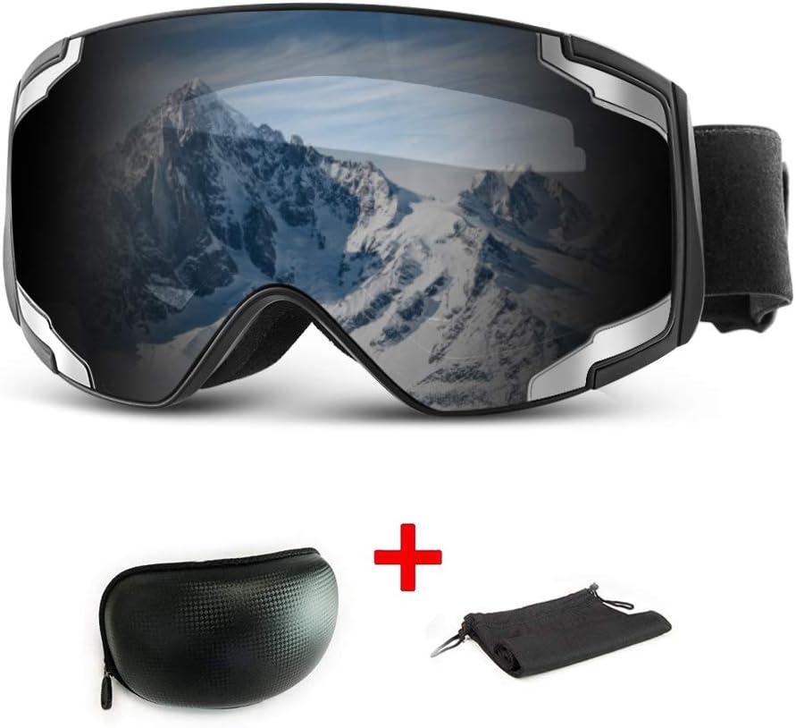 Extra Mile Gafas de Esquí,Gafas Esqui Snowboard para Hombre Mujer Doble Lente Anti-Niebla 100% UV400 Protección Esférica Máscara Esquí OTG con Gran Campo de Visión Gafas