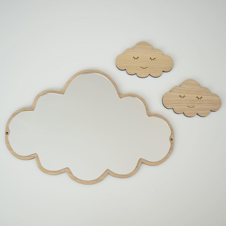 HAOSENSIX Cute Shape Mirror Explosion Children's Mirror Nordic Style Home Decoration Crafts Acrylic Pendulum(Cloud)