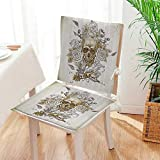 Mikihome Premium Chair Cushion Skull with Roses of The Dead Sign Horror Mexican Traditial 2 Piece Set Comfort Memory cushionsd Mat:W17 x H17/Backrest:W17 x H36