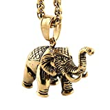 "HZMAN Vintage Style My Lucky India Elephant Stainless Steel Pendant Necklace, 24"" Chain"
