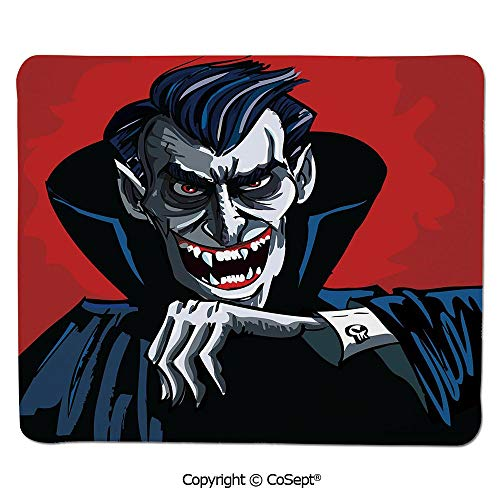 Premium-Textured Mouse pad,Cartoon Cruel Old Man with Cape Sharp Teeth Evil Creepy Smile Halloween Theme,Dual Use Mouse pad for Office/Home (7.87