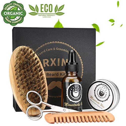 Beard Brush & Comb Set for Men's Care,Beard Grooming Kit, |Gentleman's Giveaway Mustache Scissors Beard Oil Beard Growth Beard Balm |Beard Care Kit for Men
