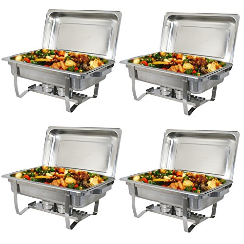 Super Deal Stainless Steel 4 Pack 8 Qt Chafer Dish w/Water Pan, Food Pan, Lid (Chafing Holder Pan)
