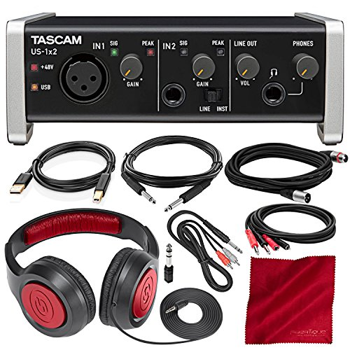Tascam US-1X2 1 in 2 Out USB Audio & MIDI Interface with HDDA Mic Preamps and iOS Compatibility with Headphones and Cables Bundle (Microphone One Preamp)