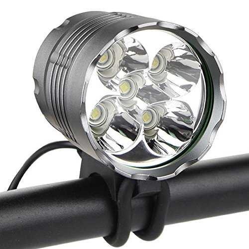 - Weihao Bike Light, 6000 Lumen 5 LED Bicycle Headlight, Waterproof Mountain Bike Front Light Headlamp with 6400mAh Rechargeable Battery Pack, AC Charger