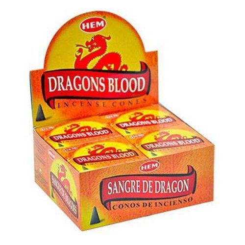 Hem Dragons Blood Cones Incense - 4 Packs, 10 Cones per Pack