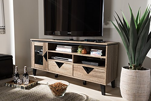 TV Stand in Light Brown Finish - Modern and contemporary style Warranty: 30 days limited Made from particle board with pu paper and plastic - tv-stands, living-room-furniture, living-room - 51DpvjrtqdL -