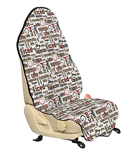 Ambesonne Modern Car Seat Cover, Coffee Words Cafe Typography in Point Sizes Digital Illustration, Car and Truck Seat Cover Protector with Nonslip Backing Universal Fit, Caramel Ruby and Dark Brown