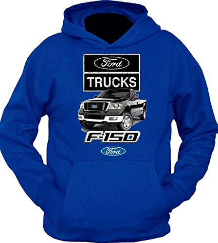 FORD TRUCKS F-150 Black 4x4 BUILT TOUGH HOODIE SWEATSHIRT, Blue, XL (Built Ford Tough Truck)