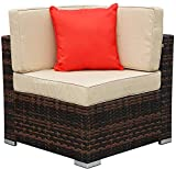 bigzzia 7 PCS Patio Conversation Sets, Patio Rattan Dining Table Set Wicker Weave Corner Sofa Seat Glass Coffee Table Conversation Set with Cushions and Pillows for Lawn Backyard Poolside