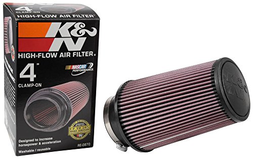 K&N RE-0870 Universal Clamp-On Air Filter: Round Tapered; 4 in (102 mm) Flange ID; 9 in (229 mm) Height; 6 in (152 mm) Base; 4.625 in (117 mm) Top by K&N