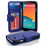 Cadorabo - Book Style Wallet Design for LG NEXUS 5 with 2 Card Slots and Money Pouch - Etui Case Cover Protection in NAVY-BLUE