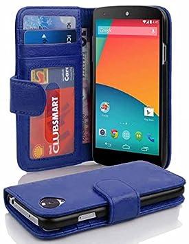 Cadorabo Carcasa para LG Nexus 5 Funda en Neptun Azul Teléfono Móvil con Tarjeta de 3 Compartimentos Case Cover Carcasa Funda Book Style Neptun de ...