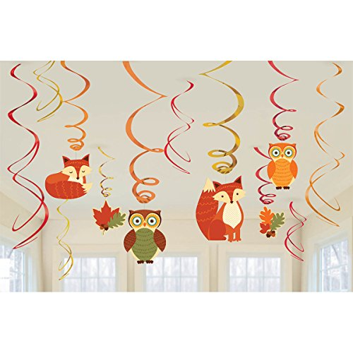 Fox, Owl and Leaf Foil Swirls Woodland Friends Party Decoration Kit - 12-piece Pack