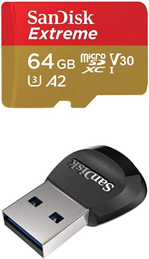 TALLA 64 GB. SanDisk Extreme - Tarjeta de memoria microSDXC de 64GB con adaptador SD, A2, hasta 160MB/s, Class 10, U3 y V30 + MobileMate Lector de tarjetas MicroSD, USB 3.0