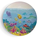 iPrint 8'' Ceramic Decorative Plate, Art Decoration Aquarium Funny Cartoon Style Underwater Scenery with Various Animals and Treasure Chest Decorative