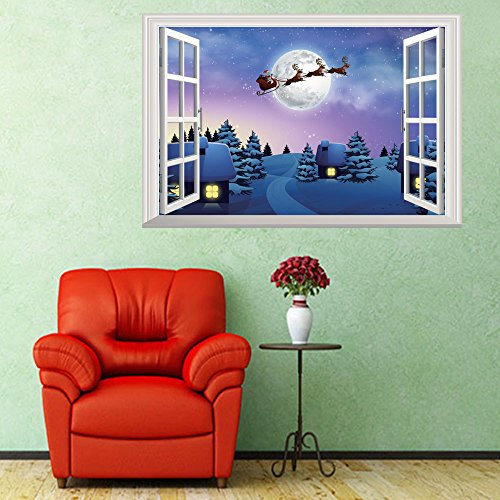 Toaimy 3D 2018 Merry Christmas Winte Wall Decorating Wall Stickers Vinyl Art Home Decor Mural Decal Quotes (A+B+C+DMULTI Christmas Trees(50x70cm X 1 Floor Sticker)) (c)]()