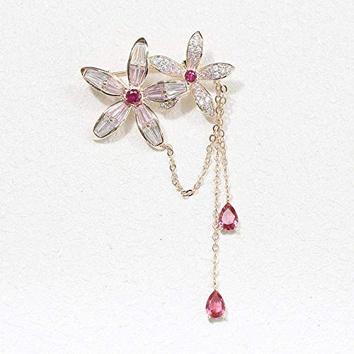 LanDream Wedding Brooch, Brooch for Wedding Prom Delicate Stone-Panelled Floral Brooch in A Simple and Versatile Tassel Pin Female Brooch (Color : A)
