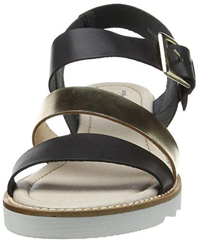 Stonefly Women's Sybil 1 Wedge Heels Sandals Black (Black Gol 740) cAHZnYI