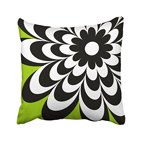 Pakaku Throw Pillows Covers For Couch/Bed 18 x 18 inch,Chic Daisy Personalized Lime Green Home Sofa Cushion Cover Pillowcase Gift Decorative Hidden Zipper Design Cotton And Polyester Blended