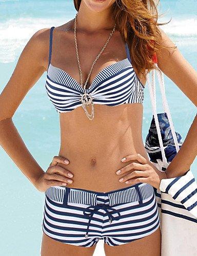 HHBO De las mujeres Bikini-Geom¨¦tricoHalter-Nailon Esp¨¢ndex navy blue