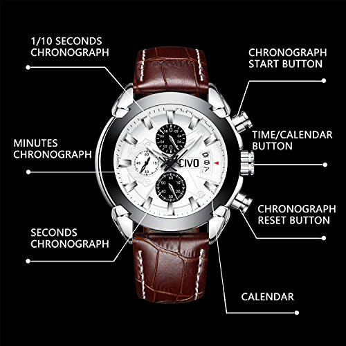 CIVO-Mens-Chronograph-Watches-Multifunctional-Waterproof-Date-Calendar-Luxury-Business-Casual-Dress-Analogue-Quartz-Wrist-Watch-for-Men-with-Brown-Genuine-Leather-Band-White-Dial