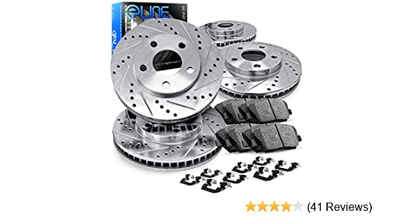R1 Concepts KEDS11752 Eline Series Cross-Drilled Slotted Rotors And Ceramic Pads Kit Front