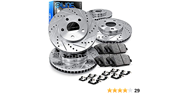 Front R1 Concepts KEDS10799 Eline Series Cross-Drilled Slotted Rotors And Ceramic Pads Kit