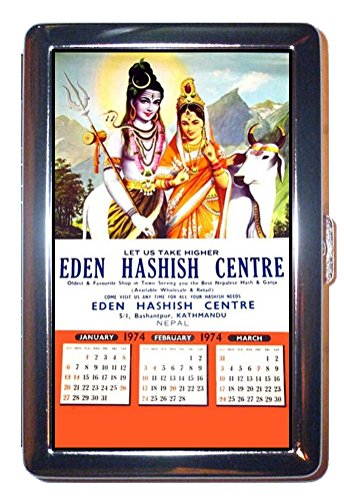 Marijuana Eden Hashish Centre Nepal Stainless Steel ID or Cigarettes Case (King Size or 100mm)