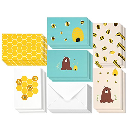 Blank Inside Cards (48 Pack All Occasion Assorted Blank Note Cards Greeting Cards Bulk Box Set -  6 Honey Bear Designs - Blank on the Inside Notecards with Envelopes Included - 4 x 6 Inches)