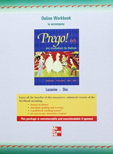 Digital (Electronic) Workbook to accompany Prego! An Invitation to Italian
