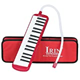 32 Piano Keys Melodica Musical Instrument Gift for Music Lovers Beginner with Mouthpieces and Carrying Bag, Easy to Learn and Play (Red)
