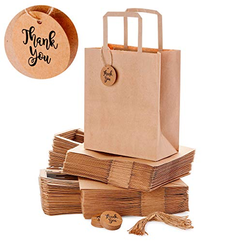 OSpecks Brown Kraft Paper Gift Bags Bulk with Handle for Retail Business/Shopping, Merchandise/Goodies/Gift for Customers/Guests, Trade Fair, 50 Count, Medium 8