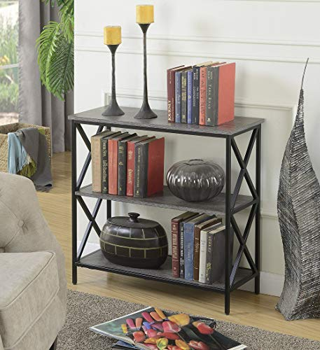 Convenience Concepts 161833WGY Tucson 3-Tier Bookcase, Weathered Gray