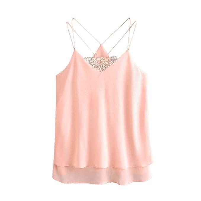 KIMODO Damen Bekleidung T Shirt Blusen Tank Top Damen Camisole Spitze  Chiffon ärmellose Weste Mode Freizeithemd  Amazon.de  Bekleidung 71120ea5db