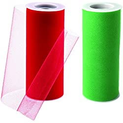Charmed tulle fabric in kelly green and red Christmas color! 6 inch by 25 yards (2 spools)